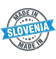 Made in slovenia blue round vintage stamp vector
