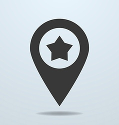 Map pointer with a star symbol vector image vector image