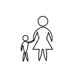 Mother and son flat icon vector