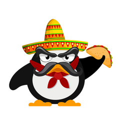 penguin with sombrero and a taco mexican style vector image vector image