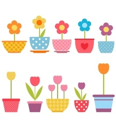 Set of colorful flowers in pots vector image