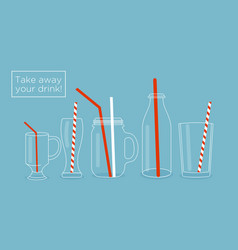 set of glasses and bottles for vector image