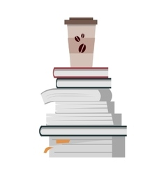 Stack of Books with Cup of Coffee vector image