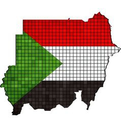 Sudan map with flag inside vector