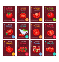 tomato product sauce ketchup poster set vector image
