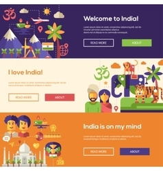 Traveling to India website headers banners set vector image