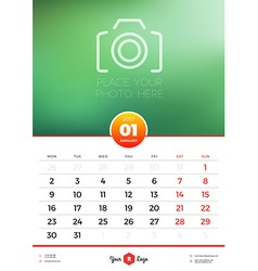 Wall calendar template for 2017 year january vector