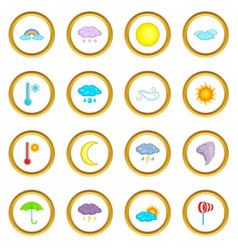 Weather icons circle vector