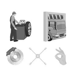Wheel balancing spanner and brake disc monochrome vector
