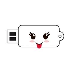 Kawaii usb drive icon vector