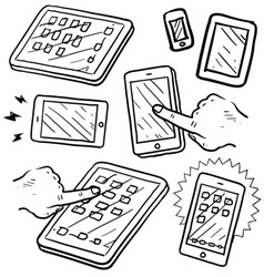 Doodle phone tablet touch vector