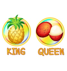 Pineapple and rambutan on round badges vector