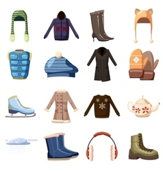 Winter wear icons set cartoon style vector