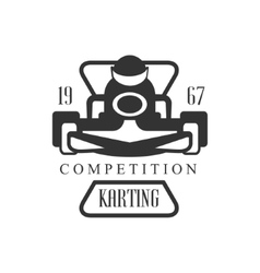 Karting club racing competition black and white vector