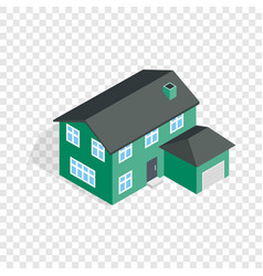 Two storey house with garage isometric icon vector