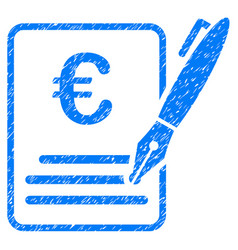 Euro contract signature icon grunge watermark vector