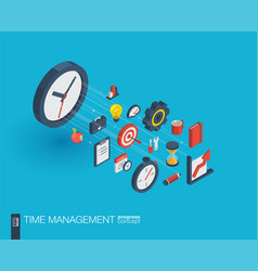 Time management integrated 3d web icons growth vector
