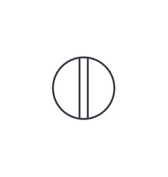 round white pill thin line icon linear vector image