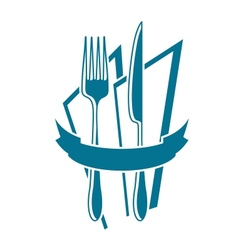 Knife fork and napkin icon in blue vector
