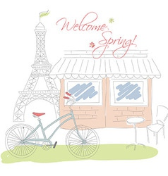 Welcome spring in Paris postcard hand drawn vector image