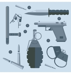 Gun baton bullets handcuffs keys vector
