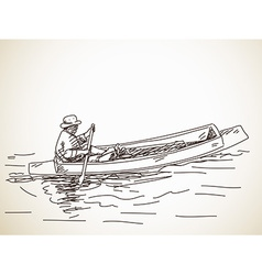 Sketch of small row boat vector