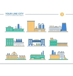 Set of line flat design industrial buildings icons vector