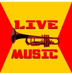 Live music trumpet yellow and red vector