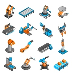 Industial robot isometric icons vector image