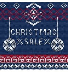 Christmas sale knitted 1 vector