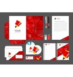 corporate identity template with red elements vector image