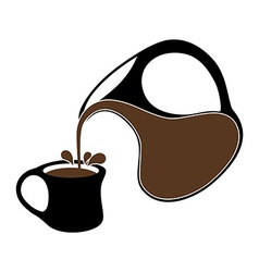 Coffee pouring from a jug into cup vector
