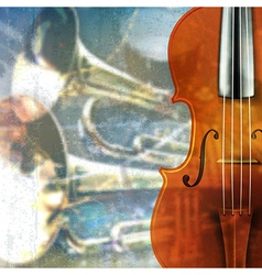 Abstract blue grunge music background with violin vector