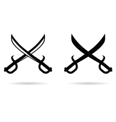 Pirate sword set in black vector