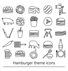Hamburger theme modern simple outline icons set vector