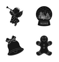 Angel glass bowl gingerbread and bell black vector