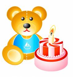 birthday cake and bear vector image vector image