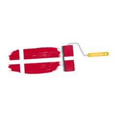 brush stroke with denmark national flag isolated vector image vector image