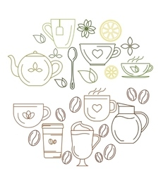 Coffe and tea icons vector image vector image