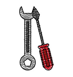 Color crayon stripe cartoon set wrench and vector