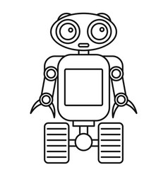 cute robot on wheels icon outline style vector image