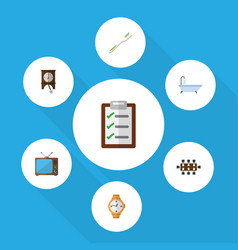 Flat icon oneday set of boardroom questionnaire vector
