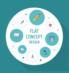 flat icons science screen writing and other vector image vector image