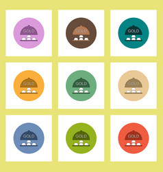 Flat icons set of gold blocks concept on colorful vector
