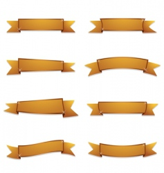 gold ribbon banners vector image vector image