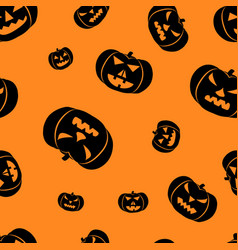 halloween orange background with angry faces vector image