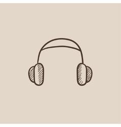 Headphone sketch icon vector image vector image