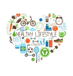 Healthy Lifestyle Diet and Fitness Heart sign vector image vector image