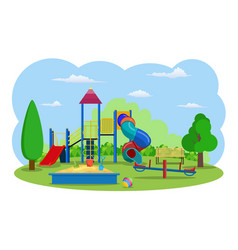 Kids playground buildings for city construction vector