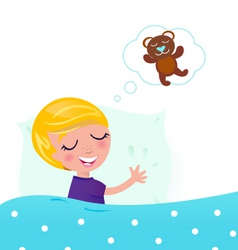 little boy dreaming about bear vector image